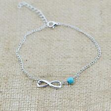 UK Beach Double Chain Crystal Bead Infinity Ankle Bracelet Link Foot Jewelry