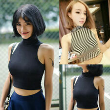 Sexy Women Fashion Slim Sleeveless Turtleneck Crop Tops Summer T-Shirt Tank Top
