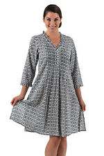 Spirituelle Belle Cotton Tunic Dress - Black White S - 2X