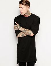Elongated Men's Black T-Shirt Oversize Extended Kanye West Tall Layer Tee Top
