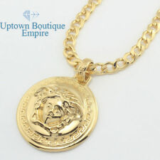 men stainless steel gold Silver Merusa medallion pendant cuban Necklace Chain 4