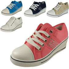 NEW WOMENS LADIES ANKLE LACE UP LOW HEEL WEDGES SHOES PUMPS BOOTS TRAINERS SIZE