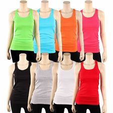 Womens Tank Top 100% Cotton Heavy Weight Ribbed A-Shirt Basic Workout DX