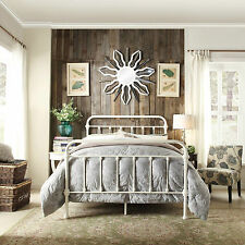 White Iron Bed Frame Antique Vintage Metal Modern Distressed Rustic Furniture