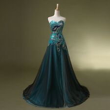 2015 Stock Peacock Prom Dress Bridal Wedding Gown Formal Evening Party Dresses