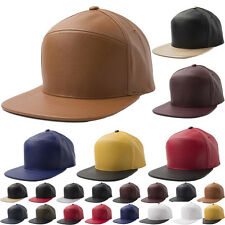 NEW Faux Leather SNAPBACK Hat Baseball Cap Men Hip Hop  Adjustable Cadet Unisex