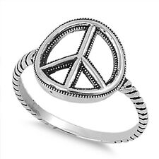 Peace Sign Ring Sterling Silver 925, Unity Symbol, Love Freedom w Free Gift Box
