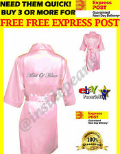 Pink Luxury Silky Satin Robes Bridal Wedding Bridesmaid Gown personalized Kimono