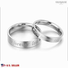 VALYRIA Stainless Steel Silver Forever Lover Couple Wedding Band Promise Ring