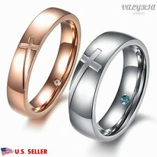 VALYRIA Stainless Steel Cross Couple Lover Wedding Band Promise Engagement Ring