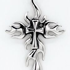 Large High Polished Stainless Steel Silver Flame Cross pendant Chain Necklace
