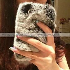 Luxury Bling Crystal Faux Rabbit Fur Case for Apple iPhone 4 4S 5 5S 6 SMG