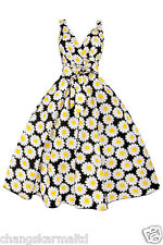 VINTAGE LADIES RETRO 40s 50s YELLOW SUNFLOWER SUMMER PARTY TEA COCKTAIL DRESS