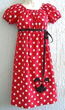 60's Inspired Minnie Mouse Aplique Lady Dress Size S M L Pink Red HANDMD Xmas