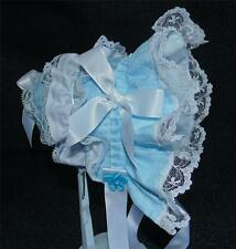 Blue Searsucker with White Lace and White Satin Ribbon Bows and Ties Baby Bonnet