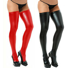 Womens PVC Style Red Stockings Mistress Gothic BDSM Clothing Hosiery