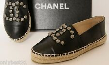 NIB 15C Chanel Black Lambskin Leather Espadrilles shoes flats with studs EU35-36