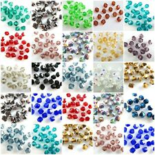 Wholesale 100-1000Pcs Glass Crystal Faceted Bicone Beads 4mm Spacer Findings