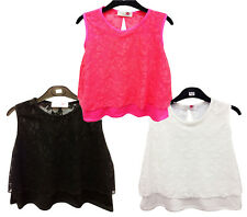 GIRLS FLORAL LACE TOP LAYERED SLEEVELESS SUMMER PARTY T-SHIRT TOP 7-13 YEARS