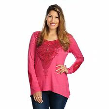 One World Heathered Knit Long Sleeved Lace Inset Henley Top NWOT
