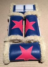 HORSE WORK BOOTS BLUE & HOT PINK STAR PATTERN- SET OF 4 NEW