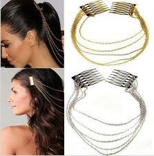 Women Fashion Gold Silver Metal Tassel Comb Cuff Chain Jewelry Headband HairBand