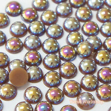 Fantasy Brown AB (2mm - 10mm) Flatback Half Pearl Round Scrapbook Nail Craft DIY
