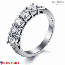 VALYRIA Women's Fashion 316L Stainless Steel Silver Ring 5 Clear CZ Stones USA