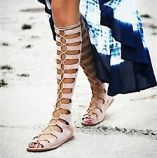 Women's Strappy Roman Gladiator Lace Up Knee High Sandals Flat Heel Summer Boots