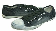 Calvin Klein Mens Stan Black Washed Denim Lace-Up Casual Fashion Sneakers Shoes