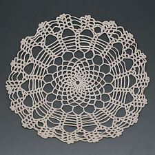 "9.5"" Vintage Handmade white cotton Lace Crochet Doilies Table Decor Placemat"