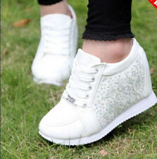 2015 Womens Hidden Wedge Lace Up Fashion Sneaker Rhinestone College Casual Shoes