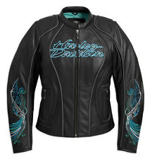 Harley Davidson Womens Carousel Black Leather Jacket Turquoise Blue 97072-11VW M