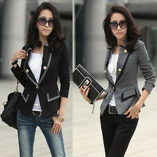 Womens Blazer Jacket One Button Slim Ladies OL Casual Suit Coat Outerwear Tops