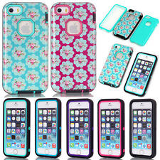 New Armor Shockproof Heavy Duty Glossy Floral Pattern TPU Rugged Case For iPhone