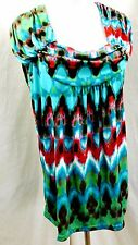 UNITY WOMEN PLUS SIZE 1X 2X 3X BROWN GREEN RED TOP BLOUSE SHIRT TIE DYE CHEVRON