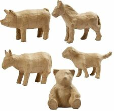 1 farmyard animal papier paper mache decoupage PM689 horse dog pig cow bear