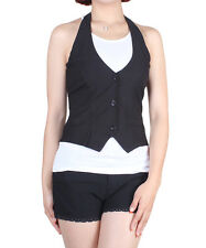 D2D Junior Size Formal Uniform Basic Style Halter V Neck Black Vest