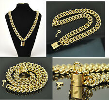 18 K Gold Filled Necklace Bracelet Set Key Lock Fashion Chain Hip Hop Men Women