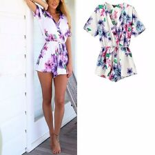 New Womens Sexy V-Neck Short Sleeve Floral Print White Shorts Jumpsuits Rompers
