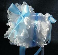New Handmade White Cotton and Lace with Blue Satin Bows and Ties Baby Bonnet