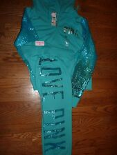 VICTORIAS SECRET PINK NEW 2014 DEBUT BLING SEQUIN OMBRE/AQUA HOODIE PANT SET NWT