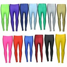 Womens Ladies American High Waisted Disco Shiny Wet Look Leggings PVC Pants 8-14