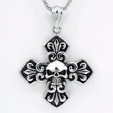 Stainless Steel Silver Men's Skull Cross Necklace Pendant Chain Jewelry Thick