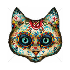 Sugar Skull Face Painted Day Of The Dead Kitty Cat T-Shirt Tee