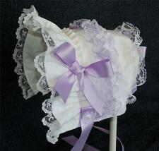 New Handmade White Printed with Lavender Satin Ribbon Bows and Ties Baby Bonnet
