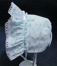 "Blue Floral with 3/8"" White Satin Ribbon Bows and Ties Baby Bonnet"