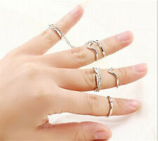 6pcs Set  Gold Urban Rings Crystal Above Knuckle stacking Band Midi Mid Ring