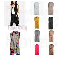NEW LADIES LONG DUSTER JACKET WOMEN SLEEVELESS WAISTCOAT SMART BLAZER TOP