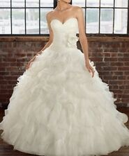 2015 New White Ball Gown Organza Wedding dress Size2 4 6 8 10 12 14 16